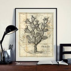 Vintage Cactus Desert Map of North America Texas Art Print Poster West Art Instant Download Printable A4 A3 8×10 & 11x14 Wall HQ300dpi by ZikkiArt on Etsy #diy #download #hq #png