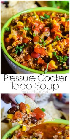 Pressure Cooker Taco Soup   This quick and easy pressure cooker taco soup can be made in your pressure cooker or Instant Pot. Throw in your ingredients close the lid and in 15 minutes you have pressure cooker soup that tastes amazing! Make this easy dinner recipe your next pressure cooker recipe or instant pot recipe. This pressure cooker soup recipe is everything you love about tacos in a delicious broth! #ad #WonderWoman
