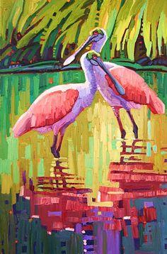 """""""Spoonbill Duet"""" by René Wiley Gallery Unenhanced Giclée ~ 36 x 24"""