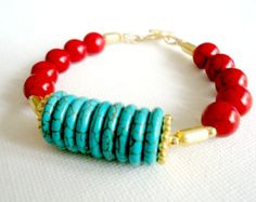 Turquoise Bracelet Gold Jewelry Red Bracelet Gemstone Jewellery Funky Chunky Unique Fashion
