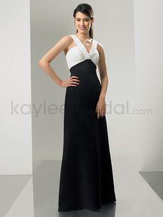 Kaylees Bridal - Chiffon and Satin V-Neckline Floor-Length A-line Bridesmaid Dress