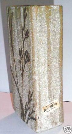 British Studio Pottery Vase by Eric White with Original Label - W mark
