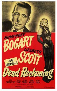 Movie poster, Dead Reckoning (1947) starring Humphrey Bogart
