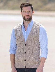 Mens Sleeveless Cardigan Vest Knitting Pattern