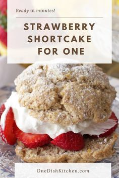 This Strawberry Shortcake recipe is the perfect size to satisfy a sweet tooth. One homemade buttery shortcake biscuit sliced in half and filled with sweet sliced strawberries and fresh whipped cream. Ready in minutes! Strawberry Shortcake Recipes, Strawberry Recipes, Slushie Recipe, Fruit Cobbler, Single Serving Recipes, Summer Dessert Recipes, Delicious Fruit, Ice Cream Recipes, No Bake Desserts
