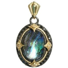 Armenta Oval Midnight Blue Mother Of Pearl Enhancer With Black... ($2,825) ❤ liked on Polyvore featuring jewelry, necklaces, accessories, green, pendants, pendant jewelry, chains jewelry, mother of pearl cross pendant, 18k pendant and sparkle jewelry