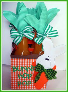 Bunny Hop Pop ~T~cute way to decorate soda to take to an easter party. Izzy Clementine comes to mind.