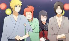 D'wwwww soo cute!!! Minato & Kushina, Fugaku & Mikoto at a festival in their kimonos! ~^_^~