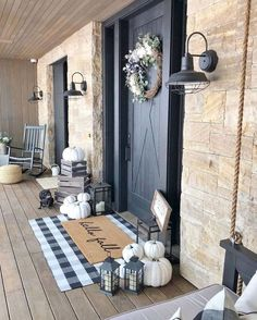 When it comes to fall porch decorating ideas, there are a variety of ways to welcome your guests with seasonal vibes, from pumpkins to mums and pretty fall wreaths. Feng Shui, Outdoor Sconces, Outdoor Decor, Farmhouse Halloween, Farmhouse Front Porches, Beautiful Farm, Love Your Home, Front Door Decor, Front Doors