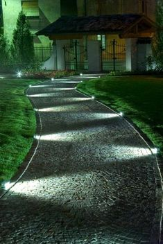 Garden paths, a driveway with lighting # driveway # lighting . - Garden paths, a driveway with lighting - Garden Path Lighting, Driveway Lighting, Backyard Lighting, Landscape Lighting, Outdoor Lighting, Rope Lighting, Porch Lighting, Outdoor Decor, Front Yard Walkway