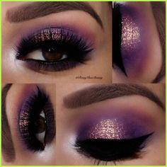 Wedding Makeup Purple Eyeshadow Lashes 47 Ideas For 2019 Hochzeits Make-up Lila Lidschatten Wi Eye Makeup Glitter, Halo Eye Makeup, Purple Eye Makeup, Eye Makeup Tips, Smokey Eye Makeup, Makeup For Brown Eyes, Makeup Goals, Beauty Makeup, Hair Makeup