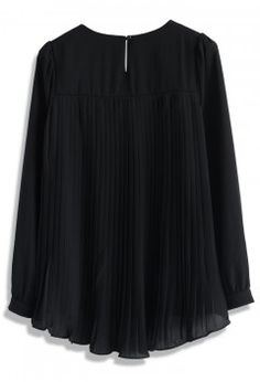 Black Chiffon Top with Beaded Neckline - Tops - Retro, Indie and Unique Fashion