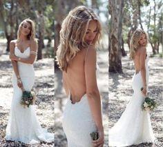 New Spaghetti Backless Bridal Gown Wedding Dress Custom Size 2 4 6 8 10 12 14 16