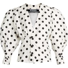 Polka-dot print gigot-sleeve blouse Jacquemus MATCHESFASHION.COM (2130 QAR) via Polyvore featuring tops, blouses, dot blouse, dot top, white blouse, white polka dot top and sleeve top