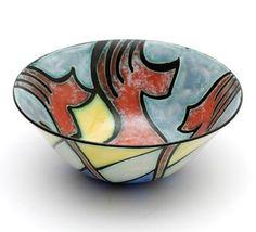 Polychrome decorated bowl scenery Inca design Willem van Norden 1957 executed by Goedewaagen Gouda / the Netherlands