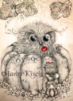 the Pumpkin Owl ~ Janet Kisch https://www.facebook.com/pages/Once-Upon/122225247945788?ref=hl