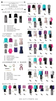 Business casual maternity capsule wardrobe - principles also work for a basic starter work wardrobe!