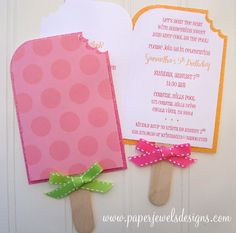 Popsicle Party Invitations  www.paperjewelsdesigns.com