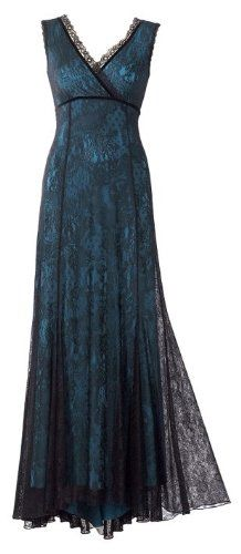 Blue Lining and Black Lace Sleeveless Floor-Length Evening Dress Designed by Michal Negrin from her Lace Story Collection; Handmade in Israel:
