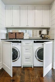 Tiny laundry rooms can be tricky... Where will the storage go? Should I install cabinets, shelves, both? The good news is, you don't have to sacrifice storage space with a small laundry room. You just have to be smart about design. Read our latest blog to learn how you can use cabinets for simple laundry room organization!............... DIY | L Shape | Above Washer | Painted | Layout | Farmhouse | With Rod | Floor to Ceiling | Rustic | With Sink | Ideas | Lily Ann Blogs Mudroom Laundry Room, Modern Laundry Rooms, Laundry Room Remodel, Laundry Decor, Laundry Room Organization, Laundry Room Design, Laundry In Bathroom, Laundry Storage, Laundry Closet Makeover
