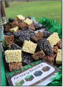 Great Ideas for a Minecraft Birthday Party                                                                                                                                                                                 More Minecraft Party Invitations, Minecraft Party Food, Minecraft Birthday Party, 6th Birthday Parties, Birthday Fun, Mine Craft Birthday, Home Birthday Party Ideas, Minecraft Cookies, Cake Minecraft