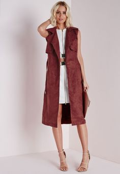Sleeveless Belted Trench Jacket Rust - Coats and Jackets - Missguided