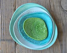 Set of 4 - Turquoise Pottery Dishes, Doily stamped Handmade Side Platters…
