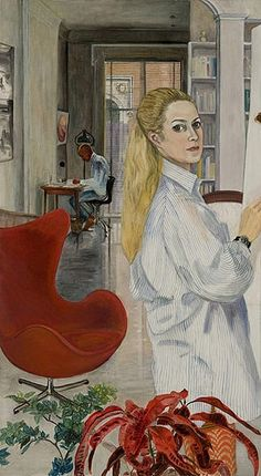 Working at Home, 1969 .Sylvia Sleigh was a realist painter born in 1916 in Wales. Around from feminist principles, she painted a series of works reversing stereotypical artistic themes by featuring naked men in poses usually associated with women. Louise Bourgeois, Tamara Lempicka, Elaine De Kooning, Francoise Gilot, Claudio Bravo, Bo Bartlett, Art Cart, Art Thou, Canadian Art