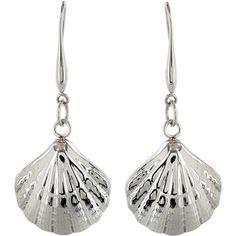 West Coast Jewelry Seashell Dangle Earrings in Stainless Steel