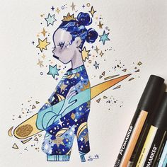 "21.8 mil curtidas, 74 comentários - @sibylline_m no Instagram: ""Thoughts  Gold ink - @sennelier1887 Markers - @winsorandnewton Paper - @cansonpaper"""
