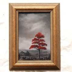 "Pip Walters Signed Original Framed Oil Painting""Red Tree Mono Landscape""Rdy 2 Hg"