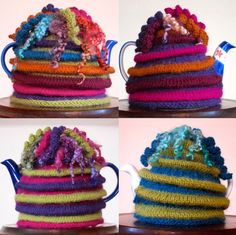 """Wensleydale Tea Cosy - pattern by Jean Moss in her book """"Great Little Gifts to Knit"""" or for sale on Ravelry Tea Cosy Knitting Pattern, Tea Cosy Pattern, Knitting Patterns, Scarf Patterns, Crochet Projects, Knitting Projects, Knitting Tutorials, Teapot Cover, Knitted Tea Cosies"""