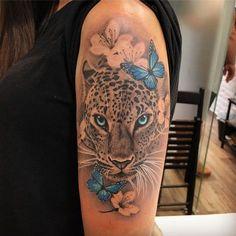 Leopardo - Leopard Tattoo - Tattoo Designs for Women - Tattoos Tiger Tattoo Thigh, Tiger Tattoo Sleeve, Arm Sleeve Tattoos, Head Tattoos, Rose Tattoos, Body Art Tattoos, Tatoos, Leopard Tattoos, Snow Leopard Tattoo