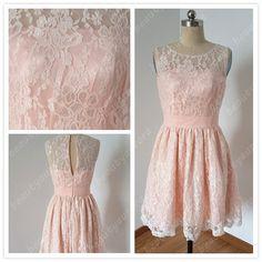 Light Pink Lace Bridesmaid Dress Lace Prom Dress by BeautyAurora, $79.00