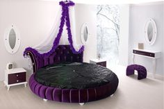 Bedroom, Purple Round Bed Design Bay Window Inside Round Bed Wonderful Laminate Tile Flooring Purple Tufted Headboard Attractive Look Bedroom Design Enchanting Round Beds Classy Bedrooms Purple Canopy Bed: 12 Round Beds That Will Spice Up Your Bedroom Shabby Chic Furniture, Bedroom Furniture, Bedroom Decor, Bedroom Ideas, Bed Ideas, Bedroom Inspiration, Girls Bedroom, White Bedroom, Modern Bedroom