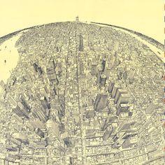 1982 Drawing of Midtown Manhattan, New York City ➖ #map #maps #cartography #geography #ny #nyc #newyork #newyorkcity #us #usa #unitedstates #birdseyeview #empirestatebuilding #rockafellercenter #hudson #drawing #art #skyline #skyscraper #view #panorama