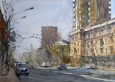 Yerevan stream by Peto Poghosyan 	Watercolor 26 cm x 36 cm 3y