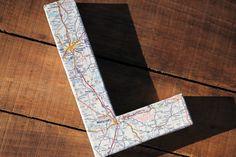 "Vintage Map Covered Letter - ""L"" - Home Decor, Georgia & Alabama Map, 3 Dimensional"