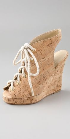 fe5bf9c6356 Cork lace up wedges. Lace Up Wedges