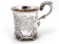 Hamilton & Co Of Calcutta Silver Christening Mug Antiques For Sale, Glass Holders, Antique Photos, Utensils, Christening, Hamilton, Horns, Lust, Antique Silver