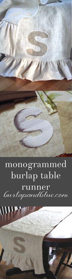 burlap monogrammed table runner