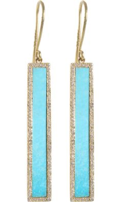 Jennifer Meyer Turquoise & Diamond Bar Earrings