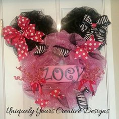 Check out this item in my Etsy shop https://www.etsy.com/listing/227908907/monogram-mini-mouse-deco-mesh-wreath