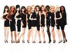A variety of barbie dolls wearing little black dresses