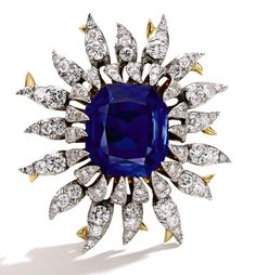 Tiffany & Co. diamond and Kashmir sapphire brooch in gold and platinum, designed by Jean Schlumberger and dating back to the 1960s. Part of the late Bunny Mellon's private collection and set with a 17ct sapphire, it sold to an online bidder for $1 million.