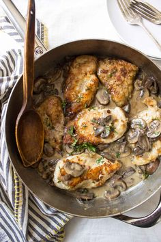 This Dairy Free Creamy Mushroom Chicken reminds me of chicken marsala but lighter. Just a few simple ingredients is all you need for this skillet dinner!