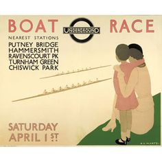 Poster: Boat Race, by Andre Edouard Marty, 1933 Vintage London, Old London, London Pride, London City, London Transport Museum, London Poster, Railway Posters, London Underground, Illustrations