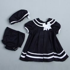 @Overstock - Dress your little one to impress with this Nautical dress set from Rare Editions, featuring a durable polyester construction. This set includes an adorable nautical dress, shorts, and a matching hat.http://www.overstock.com/Clothing-Shoes/Rare-Editions-Infant-Girls-Nautical-Dress-Set/6459364/product.html?CID=214117 $24.99