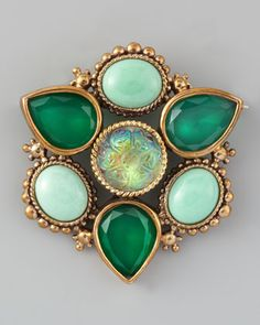 Multi-Stone Pin by Stephen Dweck at Neiman Marcus.  Watch Dweck on QVC - Admire his designs!