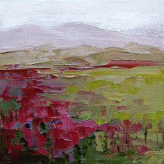 """""""Landscape Two"""" original palette knife oil painting on 4"""" x 4"""" canvas panel with mini easel.  Donated."""